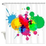 Colorful Paint Ball Fight Splash Shower Curtain Sh