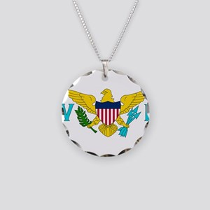 Flag of US Virgin Islands Necklace Circle Charm