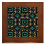 Green and Gold Pattern Framed Tile