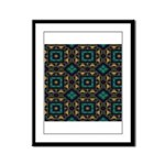 Green and Gold Pattern Framed Panel Print
