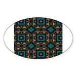 Green and Gold Pattern Sticker (Oval 10 pk)