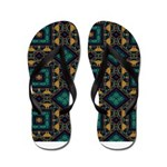 Green and Gold Pattern Flip Flops