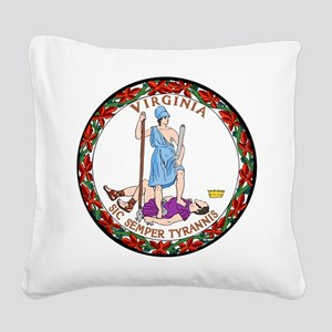 Great Seal of Virginia Square Canvas Pillow