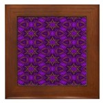 Purple and gold Stars Shower Curtain Framed Tile