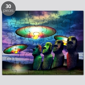 UFOs over statues - Puzzle
