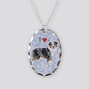 Miniature American Shepherd Necklace Oval Charm