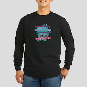 Swim in the Lines Long Sleeve Dark T-Shirt