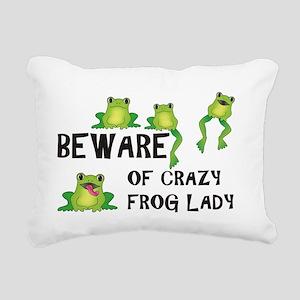 Beware of Crazy Frog Lady Rectangular Canvas Pillo