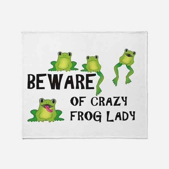 Beware of Crazy Frog Lady Throw Blanket