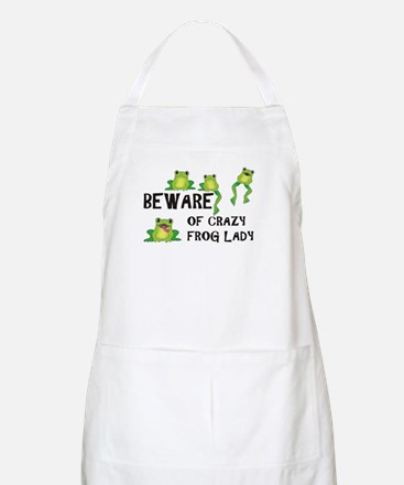 Beware of Crazy Frog Lady Apron