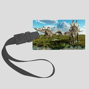 Stegosaurus dinosaurs, artwork - Large Luggage Tag