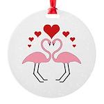 Flamingo Hearts Round Ornament