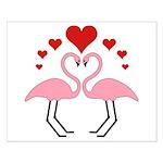 Flamingo Hearts Small Poster