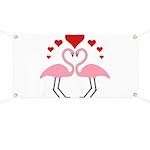 Flamingo Hearts Banner