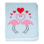 Flamingo Hearts baby blanket