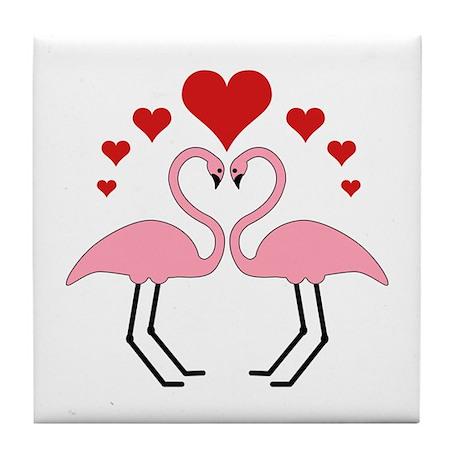 Flamingo Hearts Tile Coaster