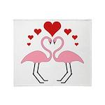 Flamingo Hearts Throw Blanket