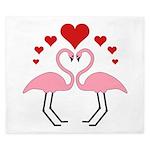 Flamingo Hearts King Duvet