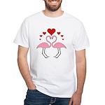 Flamingo Hearts White T-Shirt