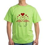 Flamingo Hearts Green T-Shirt