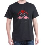 Flamingo Hearts Dark T-Shirt