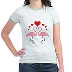 Flamingo Hearts Jr. Ringer T-Shirt