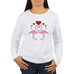 Flamingo Hearts Women's Long Sleeve T-Shirt