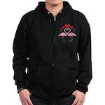 Flamingo Hearts Zip Hoodie (dark)