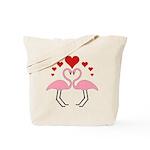 Flamingo Hearts Tote Bag