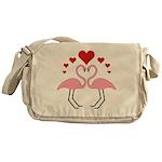 Flamingo Hearts Messenger Bag