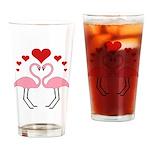 Flamingo Hearts Drinking Glass