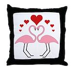 Flamingo Hearts Throw Pillow