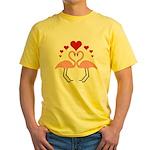 Flamingo Hearts Yellow T-Shirt