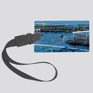 Dolphin near fish pens - Large Luggage Tag