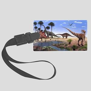 Jurassic dinosaurs - Large Luggage Tag