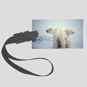 Polar bear and cub - Large Luggage Tag