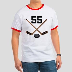 Hockey Player Number 55 Ringer T