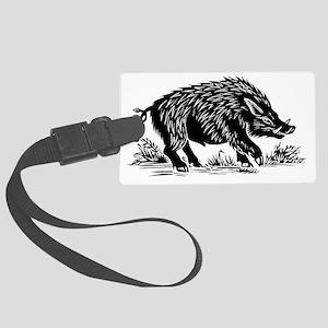 Wild boar, woodcut - Large Luggage Tag