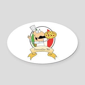 Italian Pizza Chef Oval Car Magnet