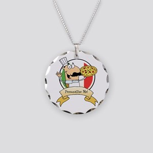 Italian Pizza Chef Necklace Circle Charm