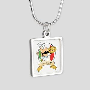 Italian Pizza Chef Silver Square Necklace