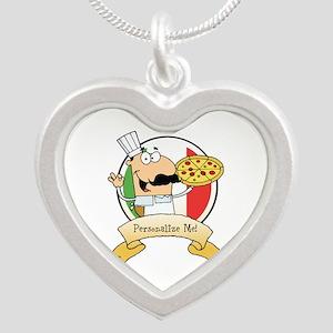 Italian Pizza Chef Silver Heart Necklace