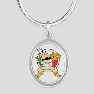 Italian Pizza Chef Silver Oval Necklace