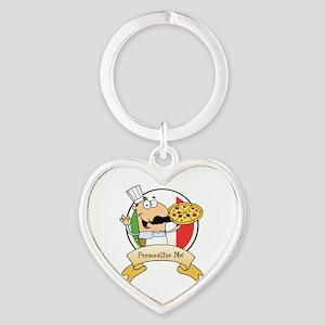 Italian Pizza Chef Heart Keychain