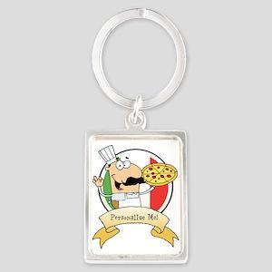 Italian Pizza Chef Portrait Keychain