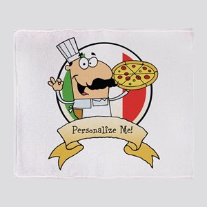 Italian Pizza Chef Throw Blanket