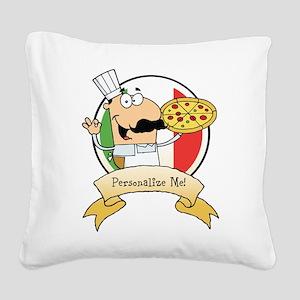 Italian Pizza Chef Square Canvas Pillow