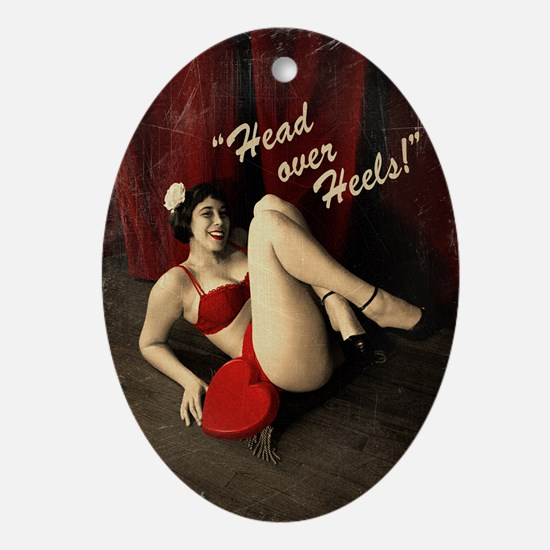 Pin Up Girl Head Over Heels Ornament (Oval)