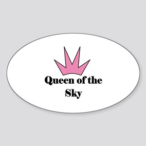 Queen of the Sky (pink) Oval Sticker