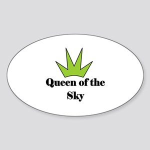 """""""Queen of the SKy"""" (lime) Oval Sticker"""